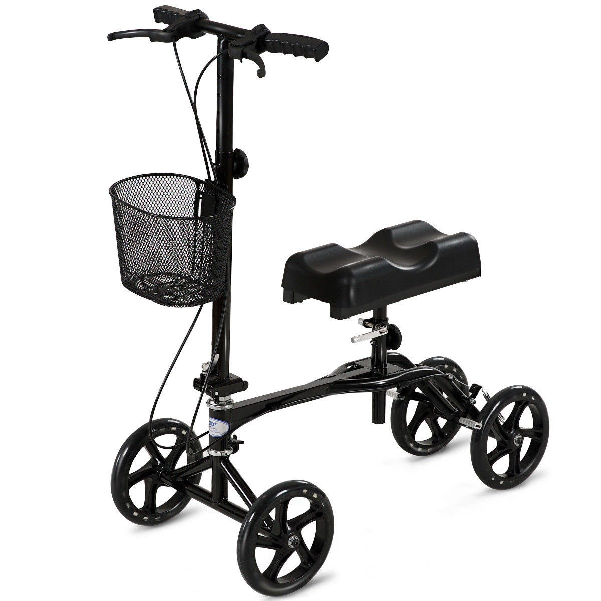 Goplus Foldable Knee Walker Medical Steerable Knee Scooter w/ Deluxe Brake System and Basket Crutch Alternative Black