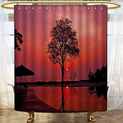 Sunrise Shower Curtains Sets Bathroom Silhouette Of Misty Twilight Sky With Tree And Nature Reflections Exotic