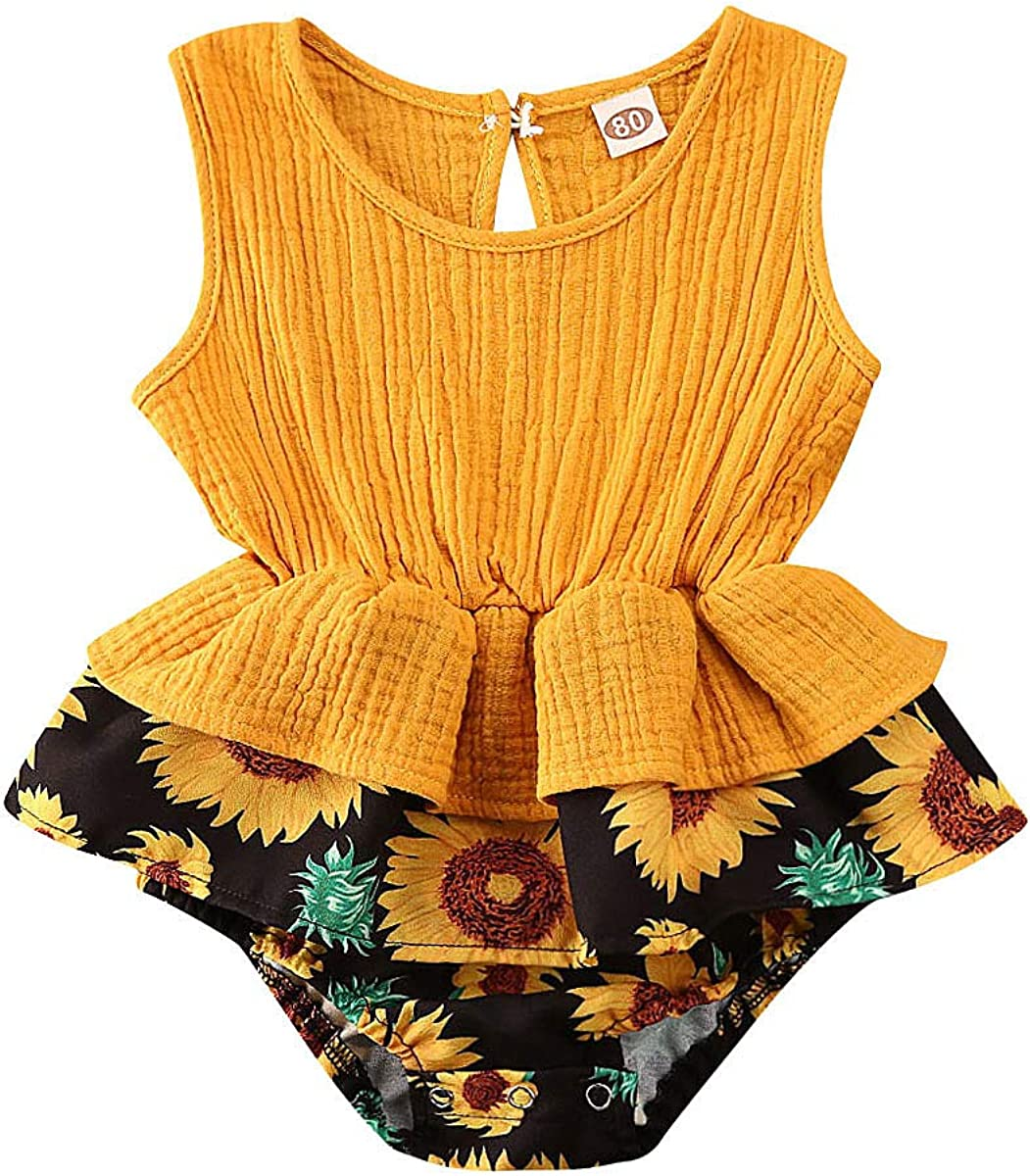 Romper Bodysuit Baby Girl,Newborn Baby Girl Romper Bodysuits Cotton Flutter Sleeve One-Piece Cloth Outfits,Girls Accessories,Yellow,80