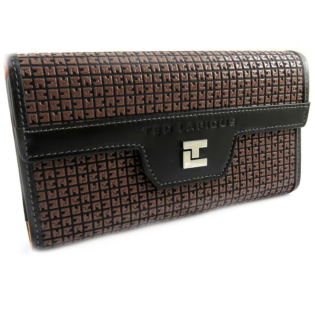 While a wallet + checkbook holder 'Ted Lapidus' orange brown.