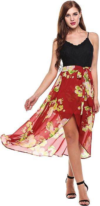 2b70298e063 Meaneor Women s Sexy Spaghetti Strap Dress V Neck Backless Floral Slit Maxi  Beach Dress B XL at Amazon Women s Clothing store