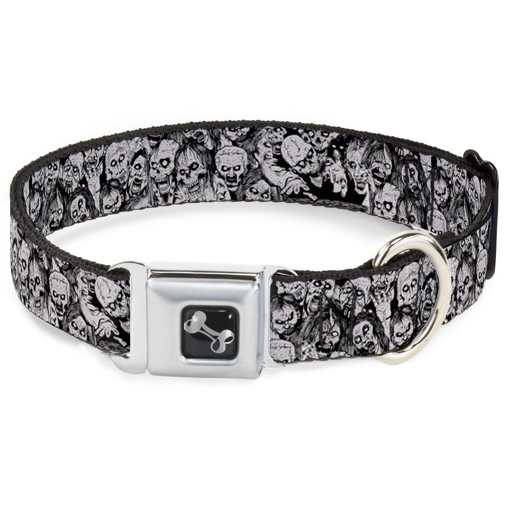Buckle-Down Seatbelt Buckle Dog Collar Zombie Skulls Sketch 1.5  Wide Fits 13-18  Neck Small
