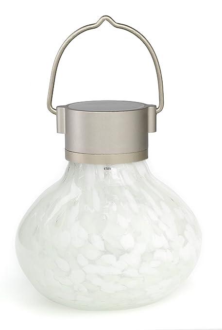 Allsop Home And Garden 30454 Solar Tea Lantern, Handblown Glass With Solar  Panel And LED