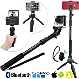 Premium HD Selfie Stick & Tripod 3-in-1 Photo/Video Kit for New iPhone X, 8, 7 & 6 Plus, GoPro, Samsung S8 or Camera PLUS Bluetooth Remote | Universal Pole Mount (All Phones, Galaxy S8+, Hero5 etc)