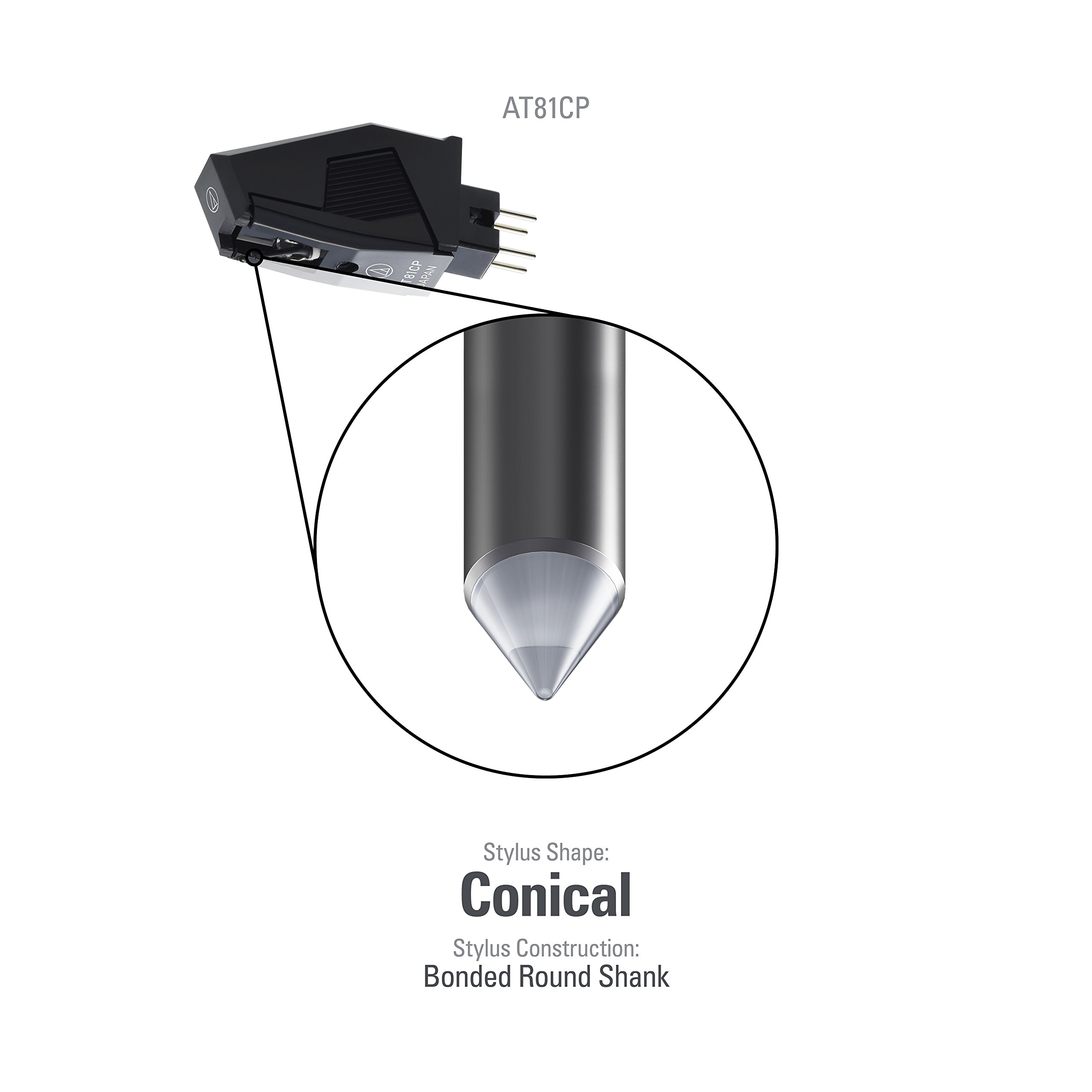 Audio-Technica AT81CP Replacement Phonograph Cartridge with Conical Stylus for P Mount Turntables by Audio-Technica