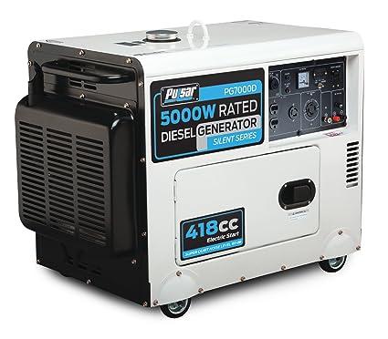 Power Generators With Amazoncom Pulsar Pg7000d Diesel Powered Generator 7000watt Output Closed Frame Portable Power Generators Garden u0026 Outdoor