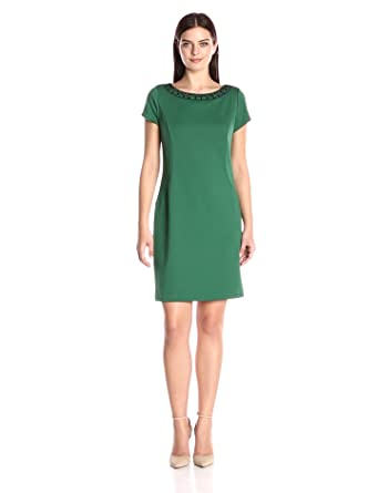 3f9ca6534b9 ELLEN TRACY Women's Ponte Short Sleeve Dress with Beaded Neckline, Emerald,  ...