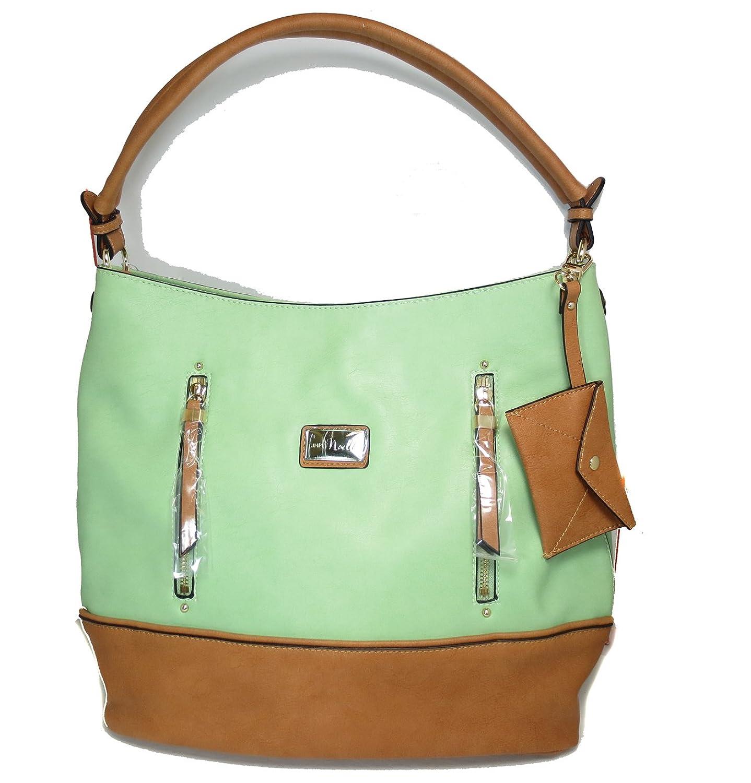 Noelle Spring Collection Zipper Hobo Handbag with Mini Card Case in Melon Green