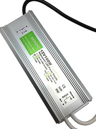 YXH® Transformador 100W LED Tira Módulo luces Conductor 12v Fuente de alimentación iluminación exterior impermeable