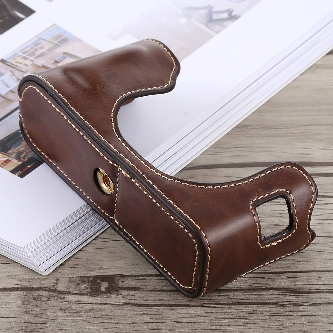 Black Color : Brown Camera Bags Cases 1//4 inch Thread PU Leather Camera Half Case Base for FUJIFILM X100F