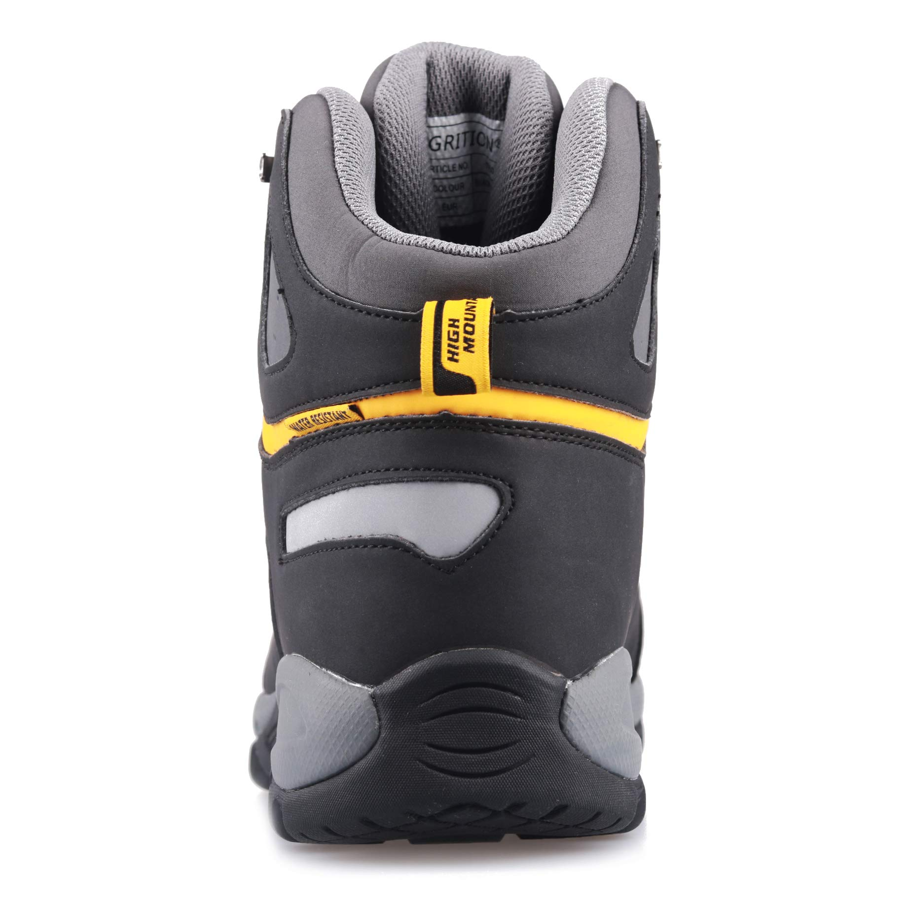 GRITION Men Hiking Boots Waterproof High Top Walking Non Slip Soft Shell Trekking Shoes Black/Yellow by GRITION (Image #4)