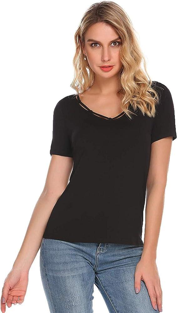 Damen T Shirt Mode Oberteile Elegante Festliche Basic