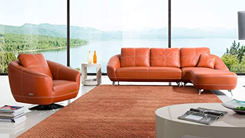 Zuri Furniture Orange Lucy Leather Sectional Sofa