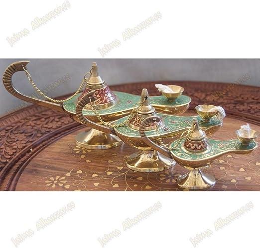 Genie Aladdin lámpara de aceite – Mecha de algodón – Bronce – Novedad – Azul, Medium: Amazon.es: Hogar