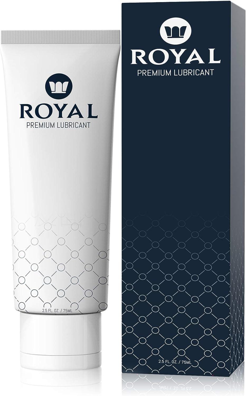 Royal Personal Lubricant for Women & Men - Water Based, Aloe, Organic, Vegan, pH Balanced, Gluten Free, Petroleum Free, Glycerin Free, Edible Premium Lube, 2.5 Ounces