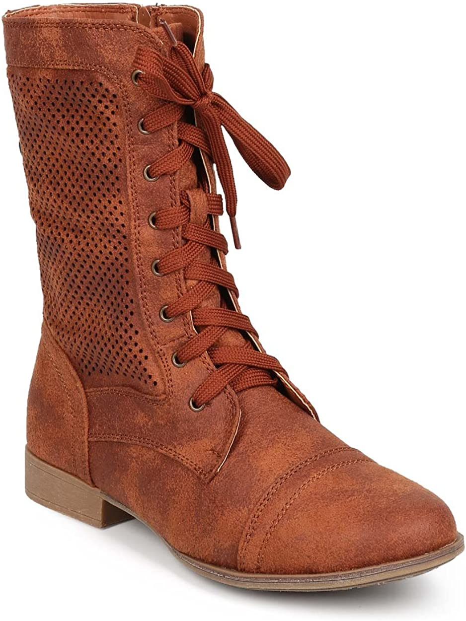 Women Distressed Leatherette Perforated
