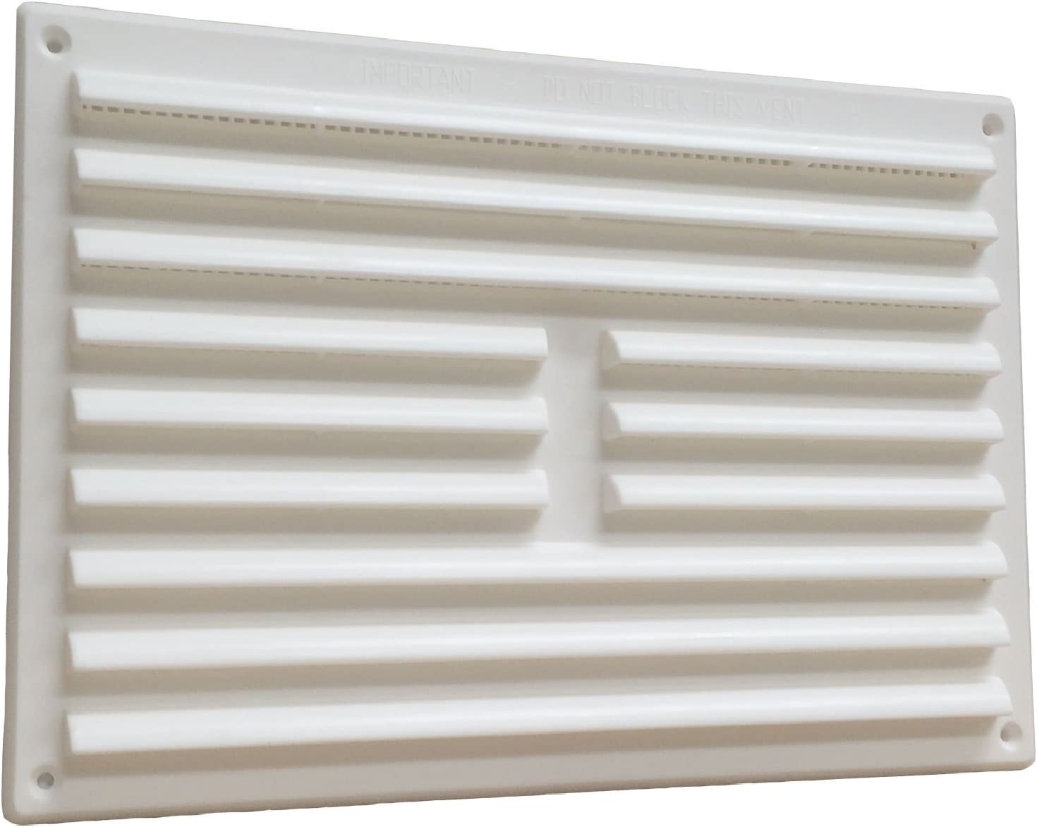 "Home Smart Plastic Louvre Air Vent Grille With Removable Flyscreen Cover 9"" X 6"" White"