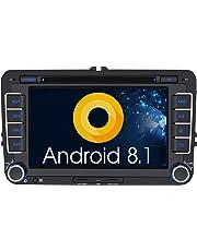 Pumpkin Android 8.1 Autoradio DVD Player für VW mit Navi Unterstützt Bluetooth DAB + USB CD DVD WLAN 4G Android Auto MicroSD 2 Din 7 Zoll Bildschirm