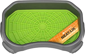 Neater Pets - Neat-Lik Mat with Mess-Proof Tray to Keep Floors Clean - Slow Feeding Lick Mat for Dogs & Cats - Relieves Anxiety & Cures Boredom - Fill Licking Pad with Treats & Food (Green & Gunmetal)