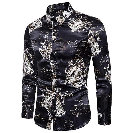 WWricotta Camisa para Hombre Negocio Camisetas de Manga Larga Originales Estampado de Personalidad Moda Casual Slim