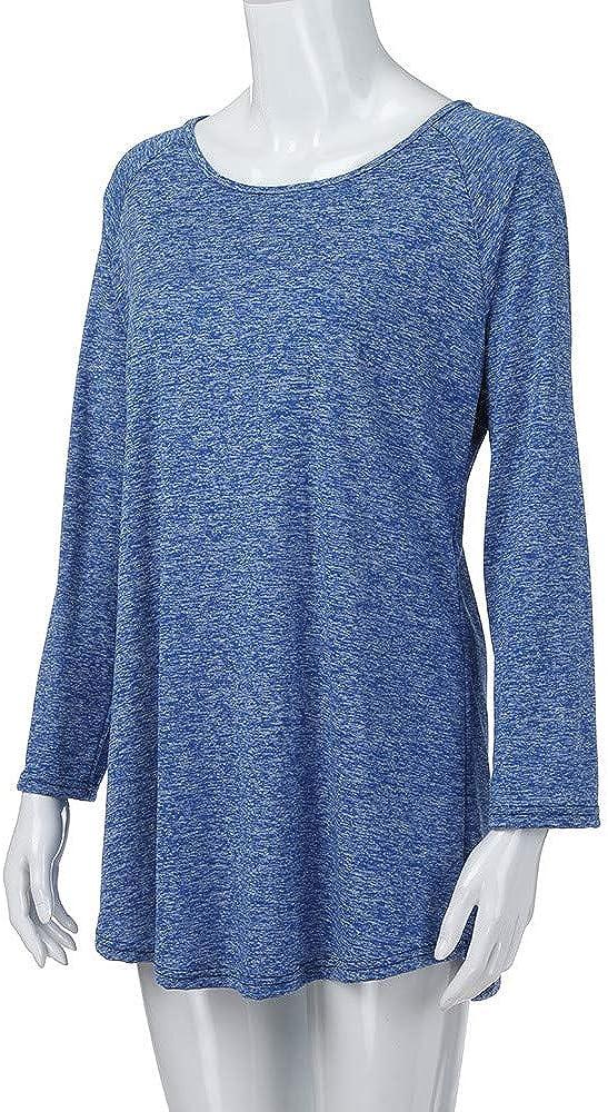 KaloryWee Bluse Tops Shirt Pullover Mode Damen Frauen Plus Gr/ö/ße Einfarbig RounLange S-5XL