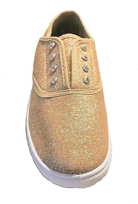 Women S Glitter Canvas Tennis Shoes Gold