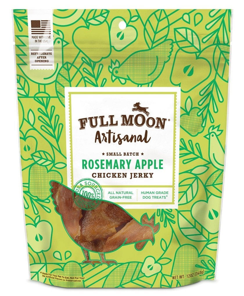 Full Moon Artisanal All Natural Human Grade Jerky Dog Treats, Rosemary Apple Chicken, 12 Ounce