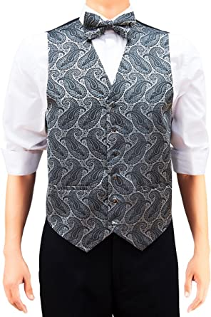 Mens Black /& Silver Striped Pattern Jacquard Vest and Matching Bow Tie Set