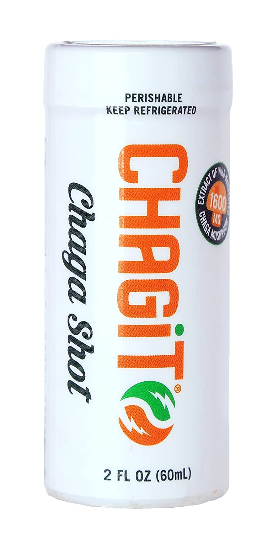 Chagit Chaga Mushroom Shot, Proprietary Quadruple Chaga Mushroom Extract, 2oz Daily Drink, Ready to Drink, Box of 15 individually wrapped shots