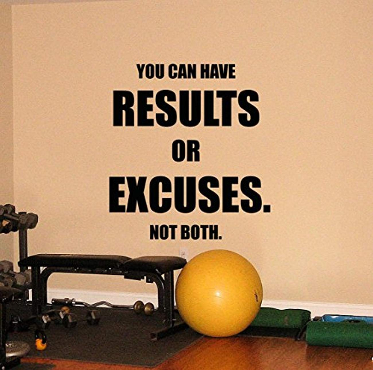 Amazon.com: Wall Vinyl Decal Fitness Gym You Can Have Results Or ...