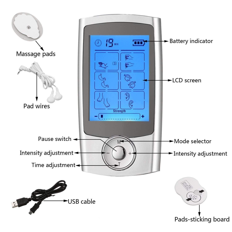 Electroestimulador Muscular | Eléctrica TENS Masajeador con Electrodos, Canal Doble|Reduce Dolor de Espalda, Cuello, Codo, Hombro, Nervio, Recargable por ...