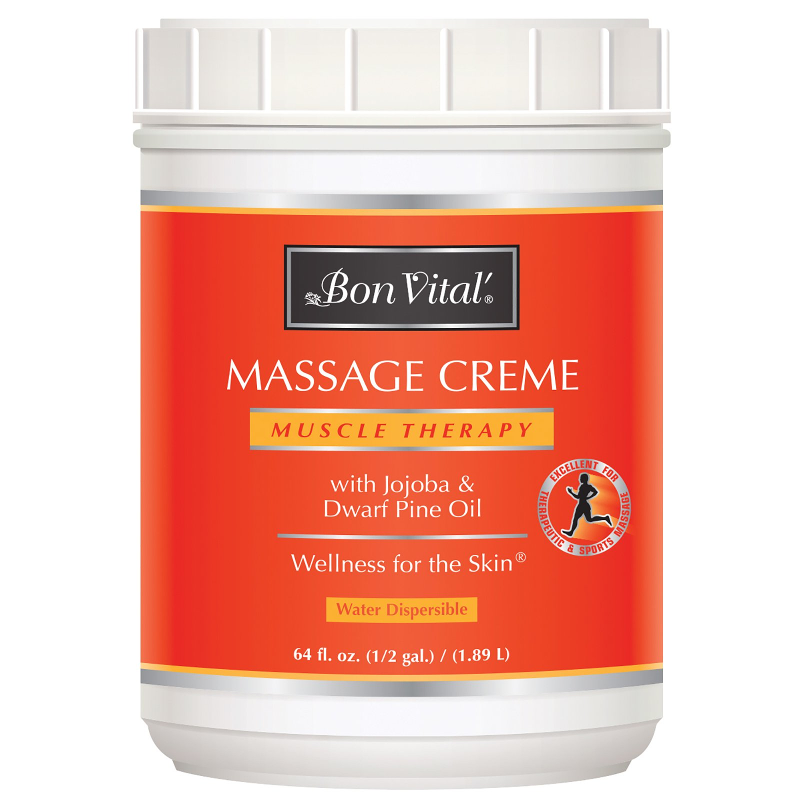 Bon Vital' Muscle Therapy Massage Crème, Professional Massage Cream with Dwarf Pine Oil & Essential Oils for Relaxation & Sore Muscle Relief, Deep Tissue & Sports Massage Techniques, 1/2 Gallon Jar