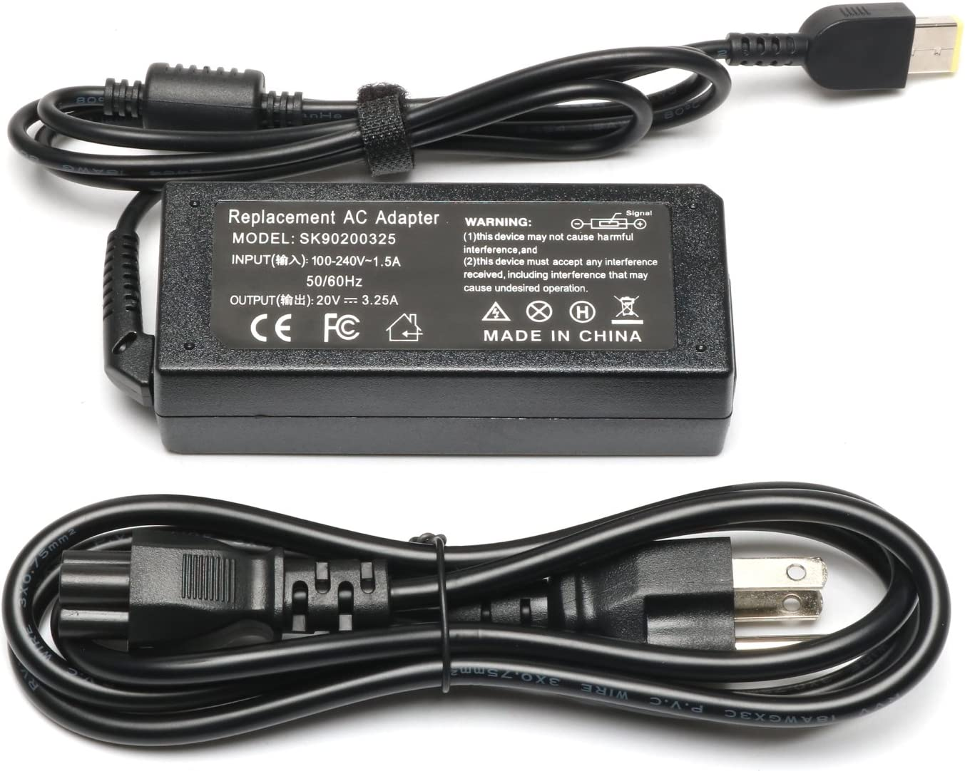 20V 3.25A 65W USB Laptop Charger for Lenovo ThinkPad X1 X270 X240 X240S X250 T470 T450S T440 T440S T460S T460 T450 T440P T540P T470S T431S T560 T570 T550 E570 E560 E550 E540 G50-45 G50-80 Power Supply
