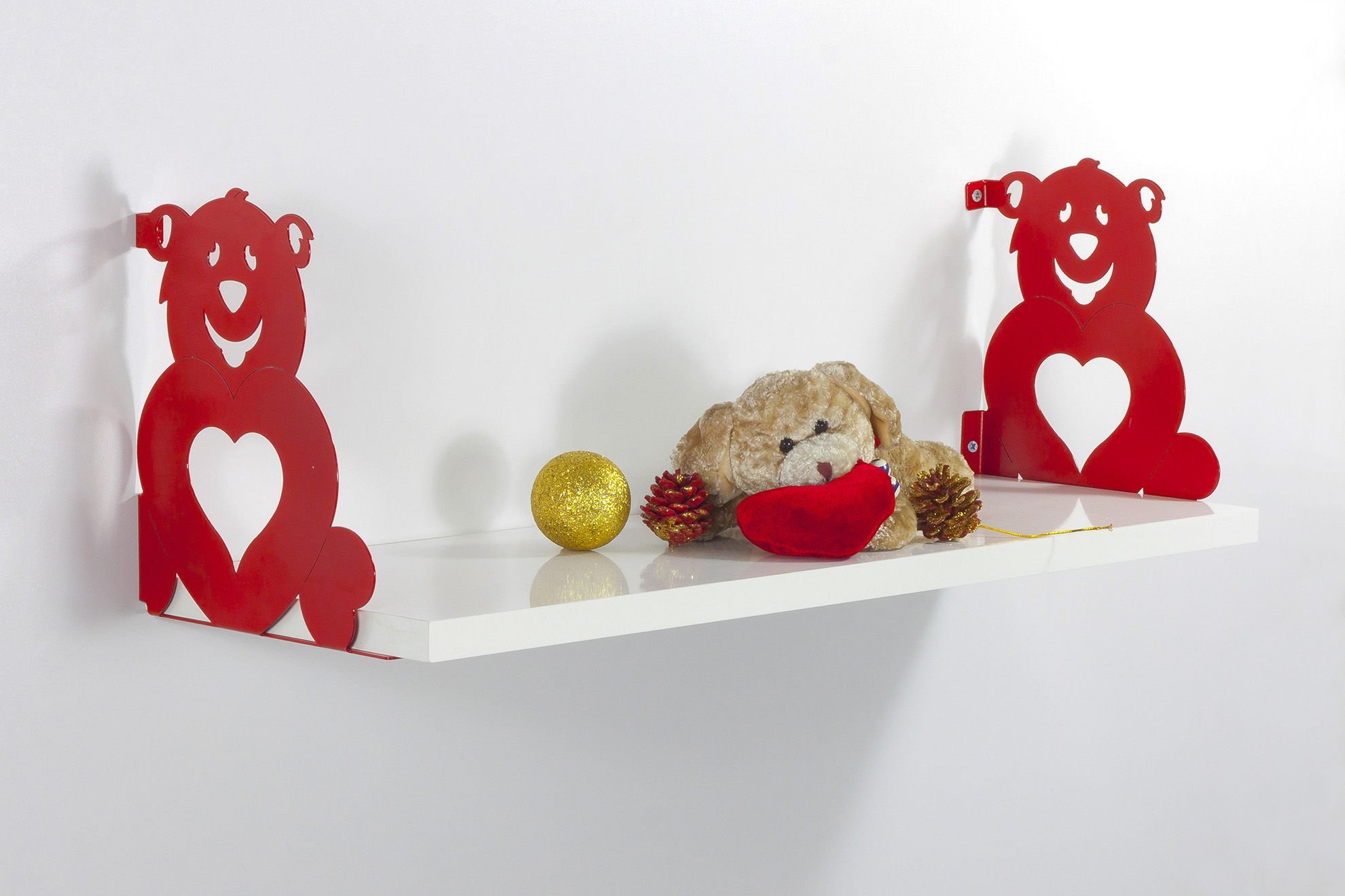 Red Teddy Bears with Heart Wall Shelf, 100% Melamine Coated Particle Board - Size (23.6'' x 7.9'' x 7.9''), Easy to Hang with Invisible Brackets, Wall Mounted Floating Shelves for Home & Office