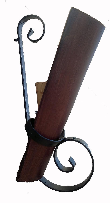 Aplique rustico forja de teja grande nogal. [Clase de eficiencia energética A] Rustiluz
