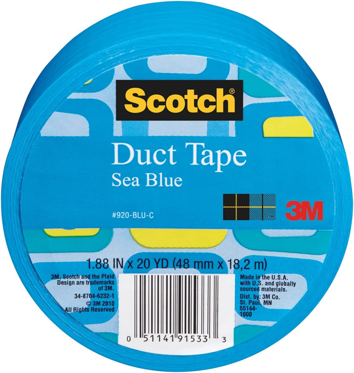 Scotch Duct Tape, Sea Blue, 1.88-Inch by 20-Yard