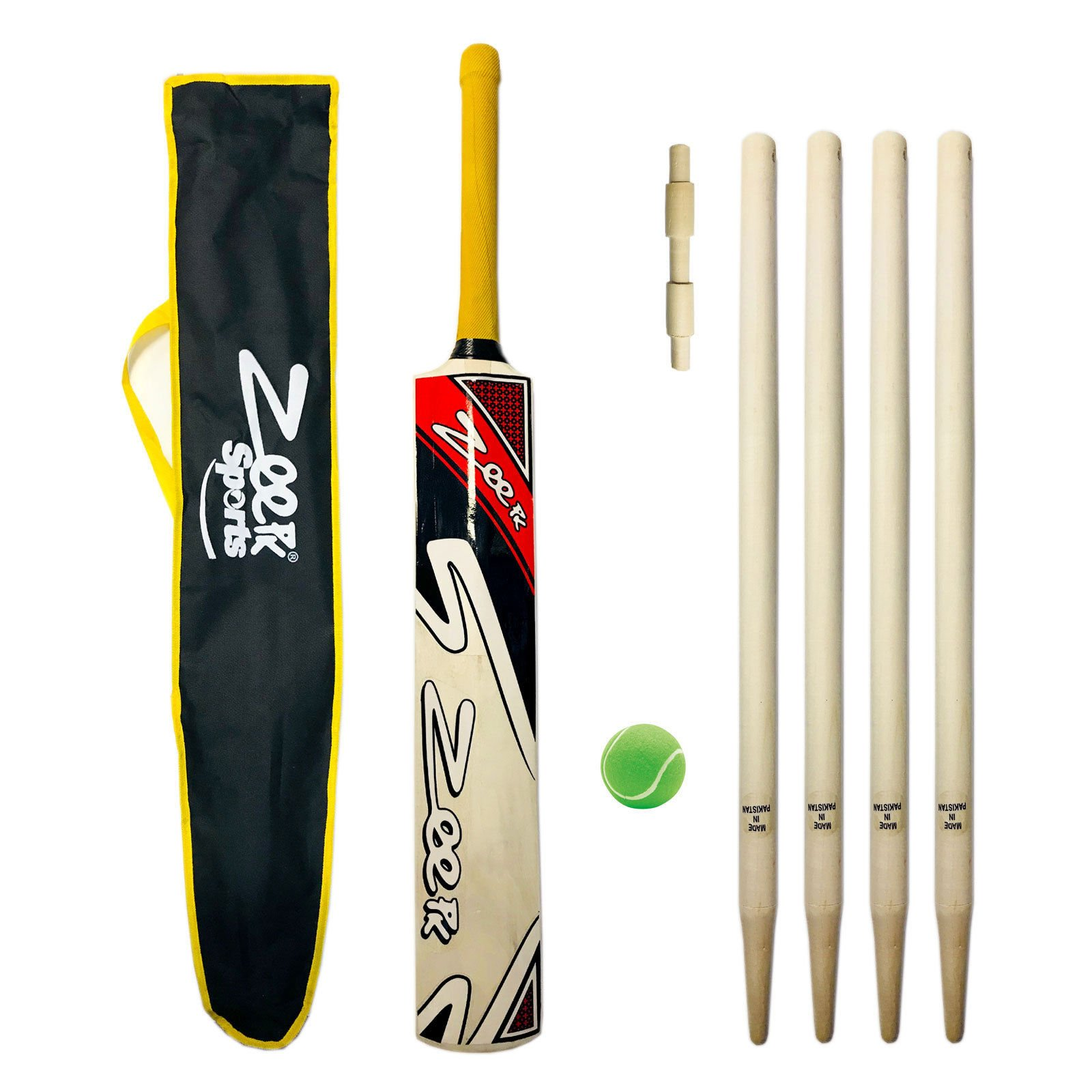 Zeepk Sports Complete Junior Cricket BAT KIT for Kids Age 8-14 Years Kashmir Willow BAT + WICKETS