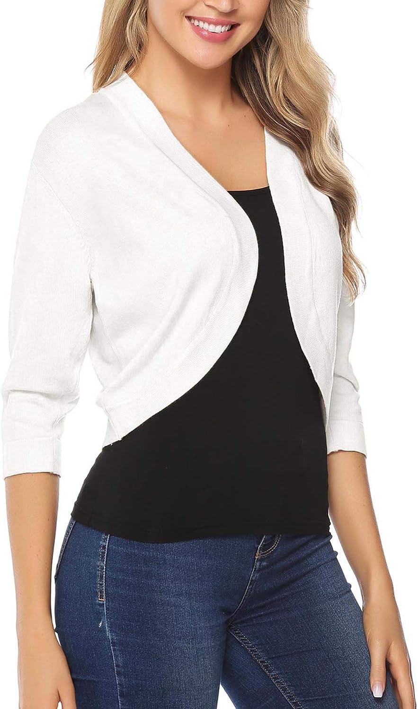 iClosam Women Open Front Cardigan 3//4 Sleeve Long Sleeve Cropped Bolero Shrug