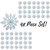 Snowflake Christmas Ornaments - Pack of 48 - 4 inch Hanging Snowflakes with Strings - Snowflake Ornaments