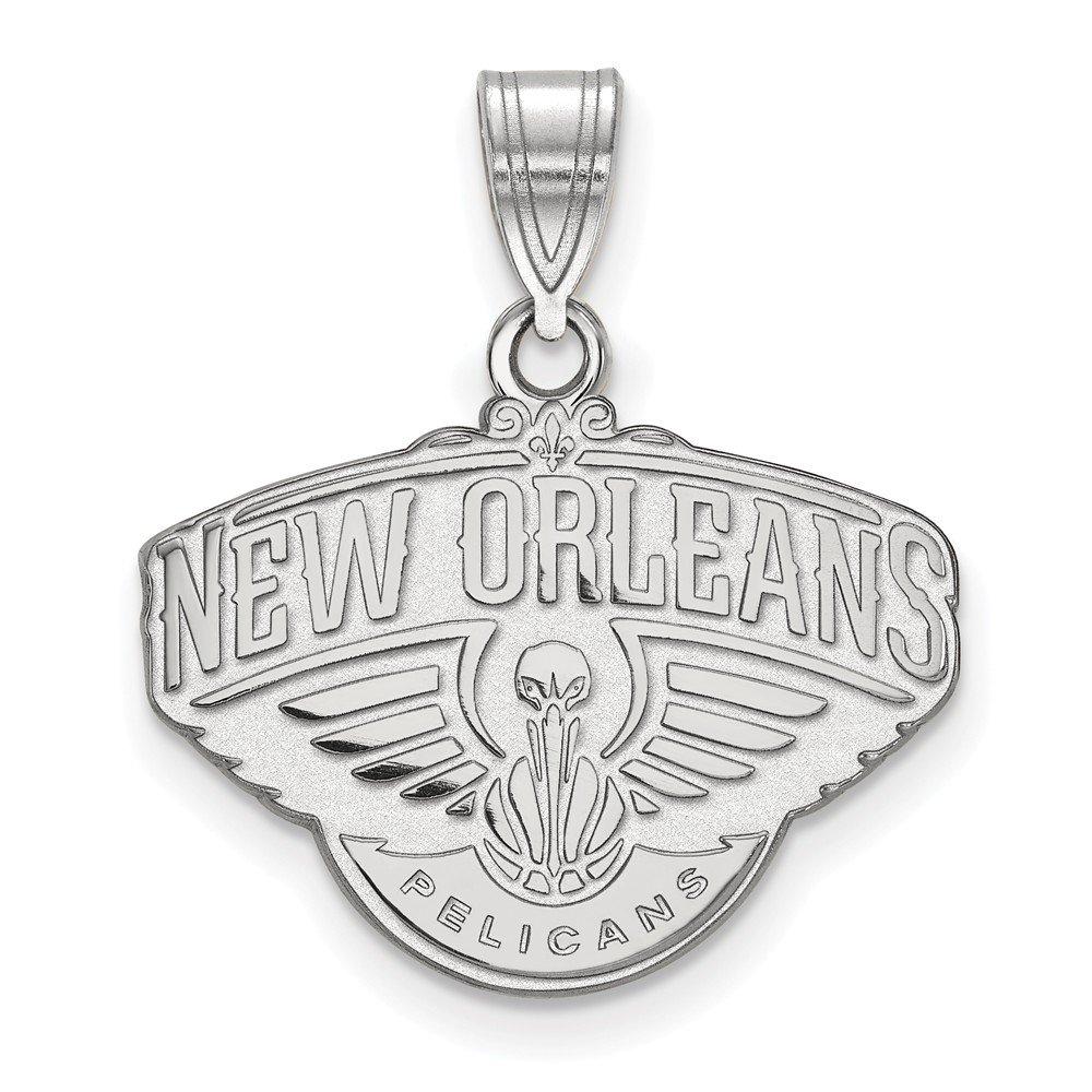 NBA ニューオーリンズ ペリカンズ Mサイズ ロゴペンダント ロジウムメッキ スターリングシルバー   B01LZ2NMHV
