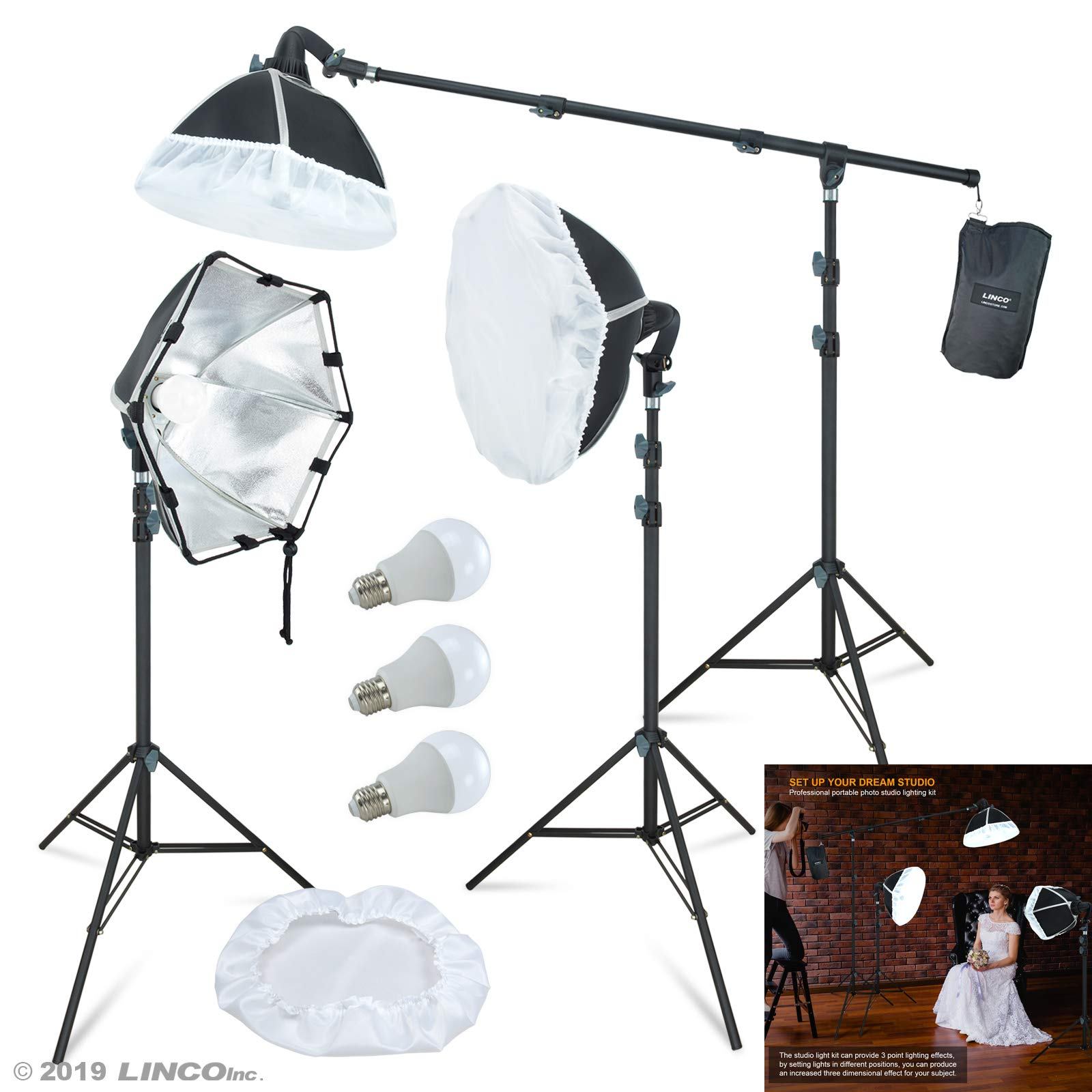 LINCO Lincostore Photography Studio Lighting Kit Arm for Video Continuous Lighting Shadow Boom Box Lights Set Headlight Softbox Setup with Daylight Bulbs 2400 Lumens AM261 by Linco (Image #1)