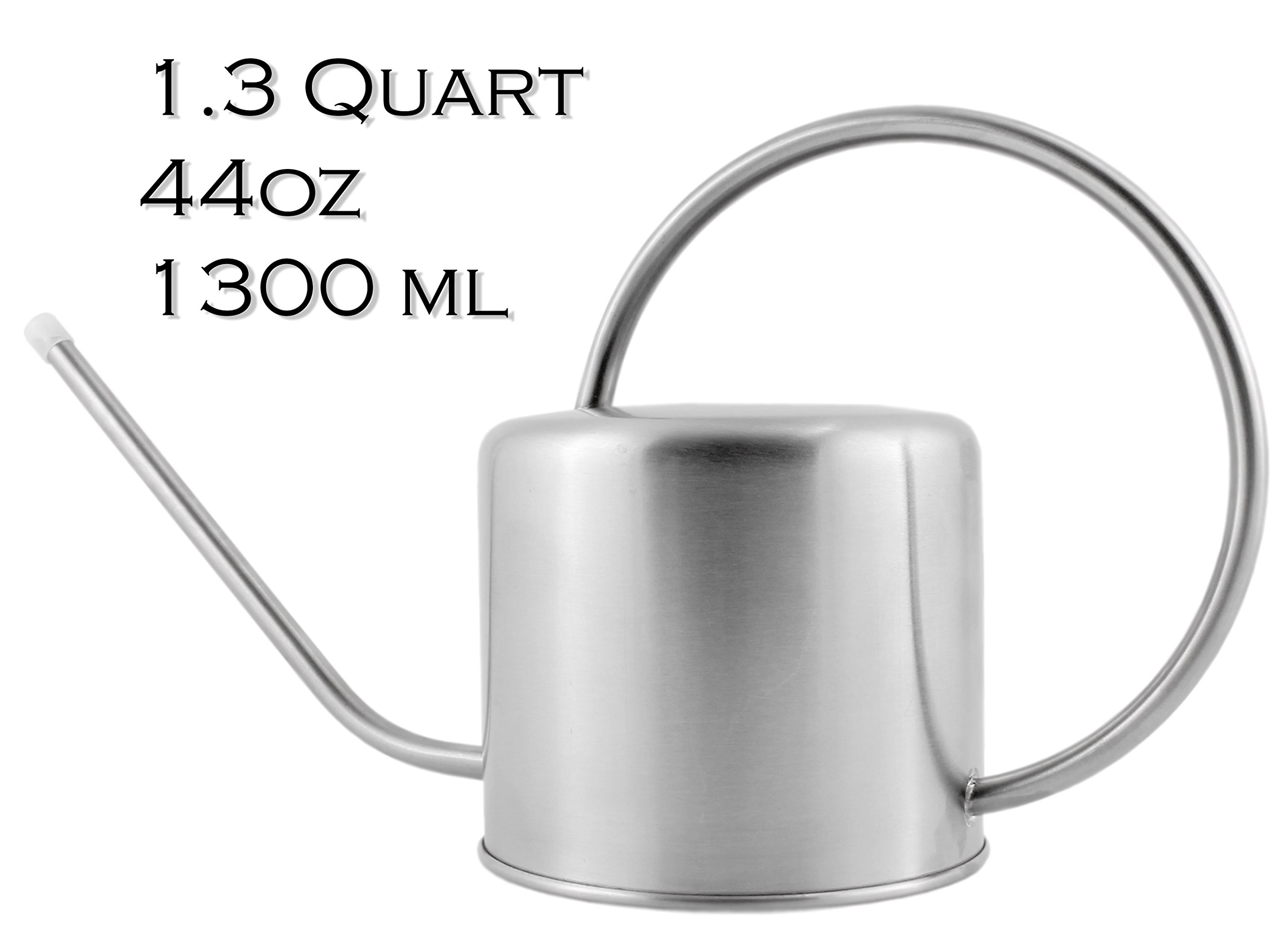 Darware Stainless Steel Watering Can — 1.3 Quart/44oz/1300 ml Capacity Brushed SS Watering Pot, Long Spout & Elegant Curved Handle