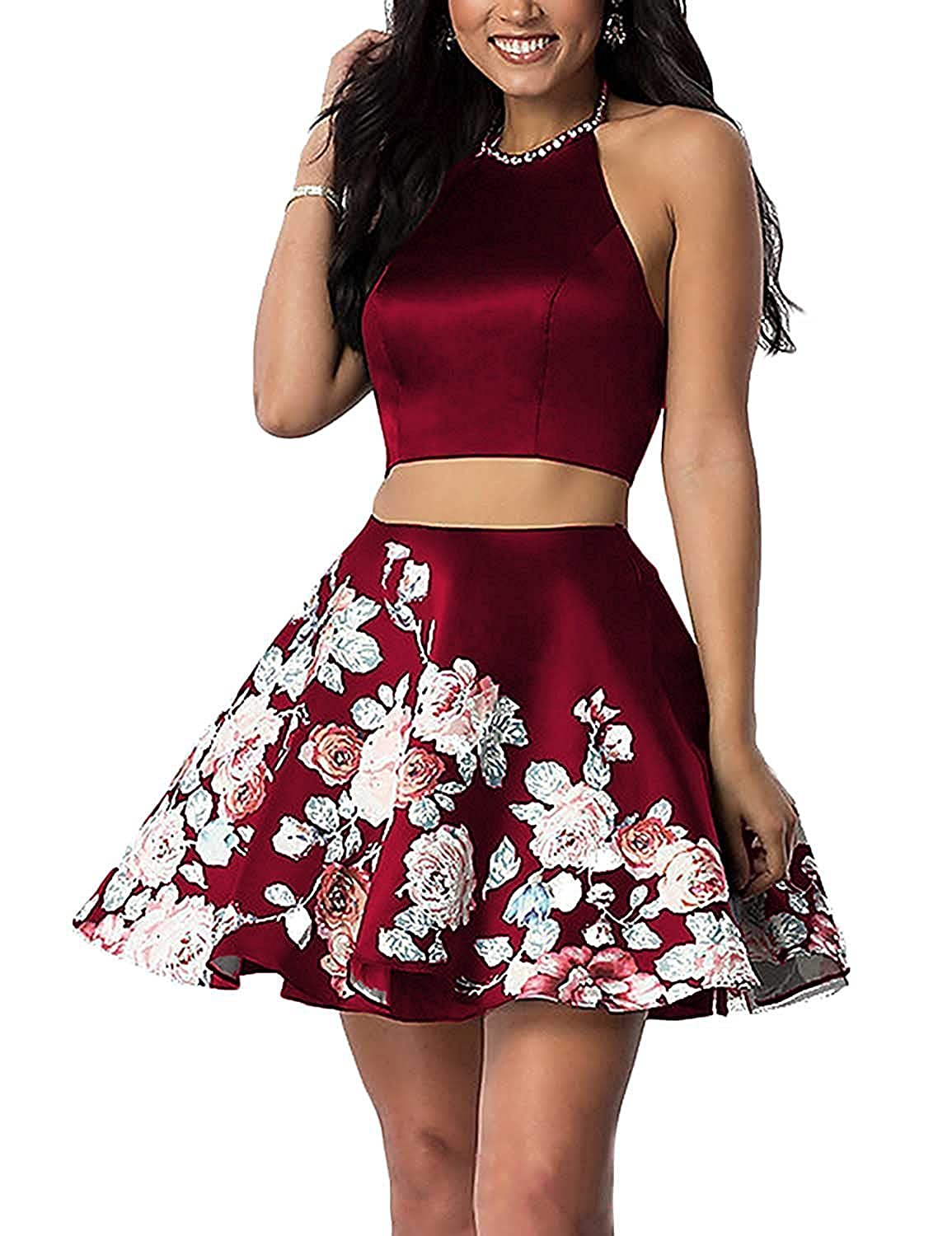 821b62525a3 Material Satin Two Pieces Floral Print Dress Halter Neckline and Decorate  with Beads Zipper Back This gorgeous dress is Perfect for Homecoming