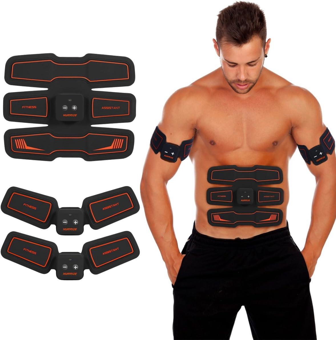 HURRISE Electroestimulador Muscular Abdominales Masajeador Eléctrico Cinturón, Abdomen/Brazo/Piernas/Cintura Entrenador Muscular, USB Recargable, 15 Niveles de Intensidad (Hombre/Mujer)