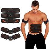 HURRISE Appareil Abdominal Muscle Stimulateur,Electrostimulateur Musculaire Abdomen/Bras/Jambes/Fesses, USB Rechargeable (Homme/Femme)