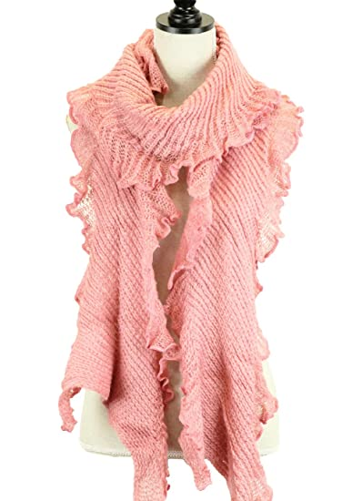 Stylesilove Ruffle Edge Knitted Long Wrap Scarf 2 Colors Pink At