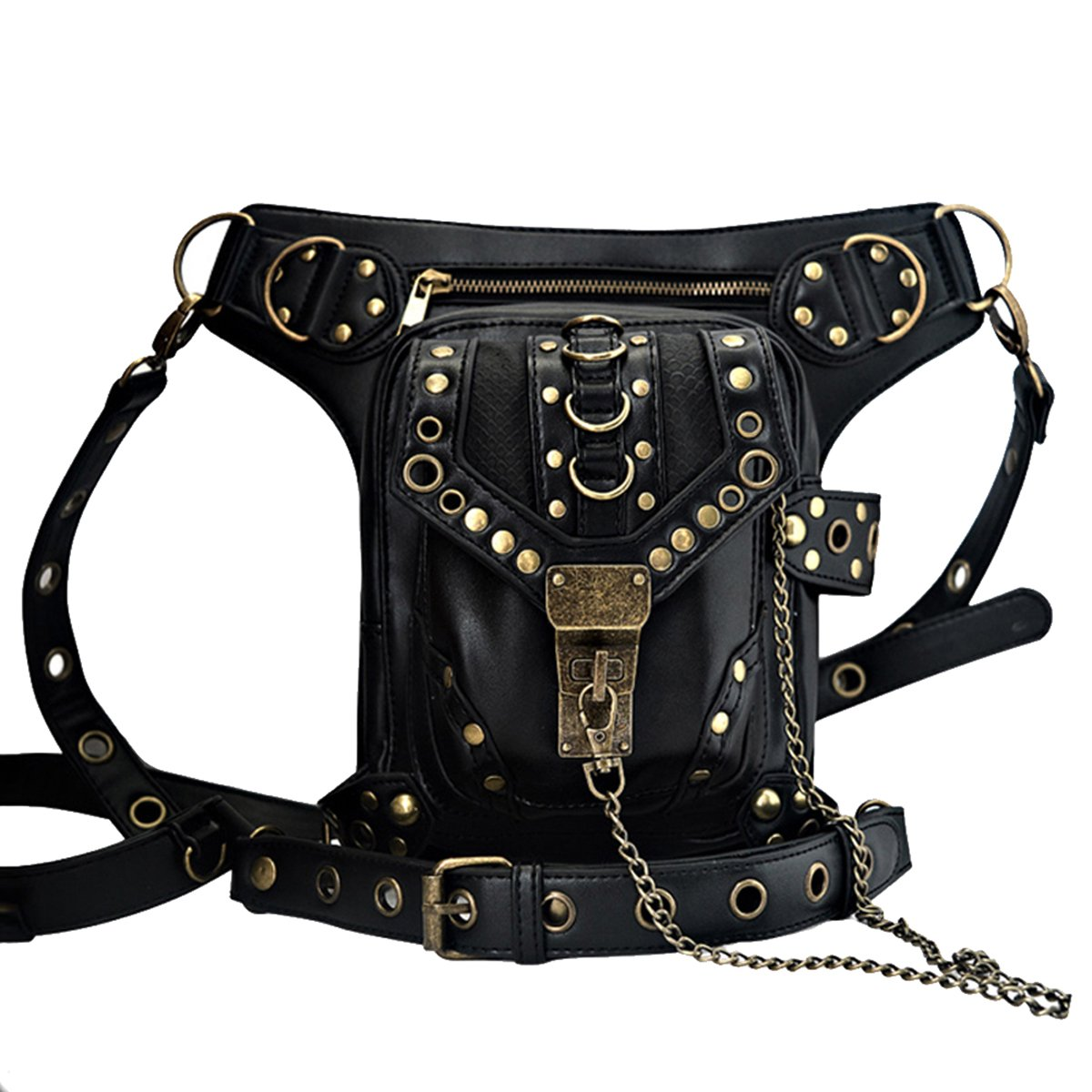 Vintage Chain Leather Handbag Steampunk Retro Motorcycle Backpack Shoulder Waist Bag Mokaqi