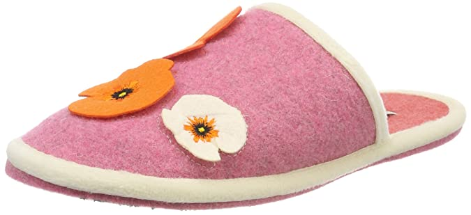 Adelheid Damen Glücklich Filzpantoffel Pantoffeln, Pink (Altrosa), 38/39 EU