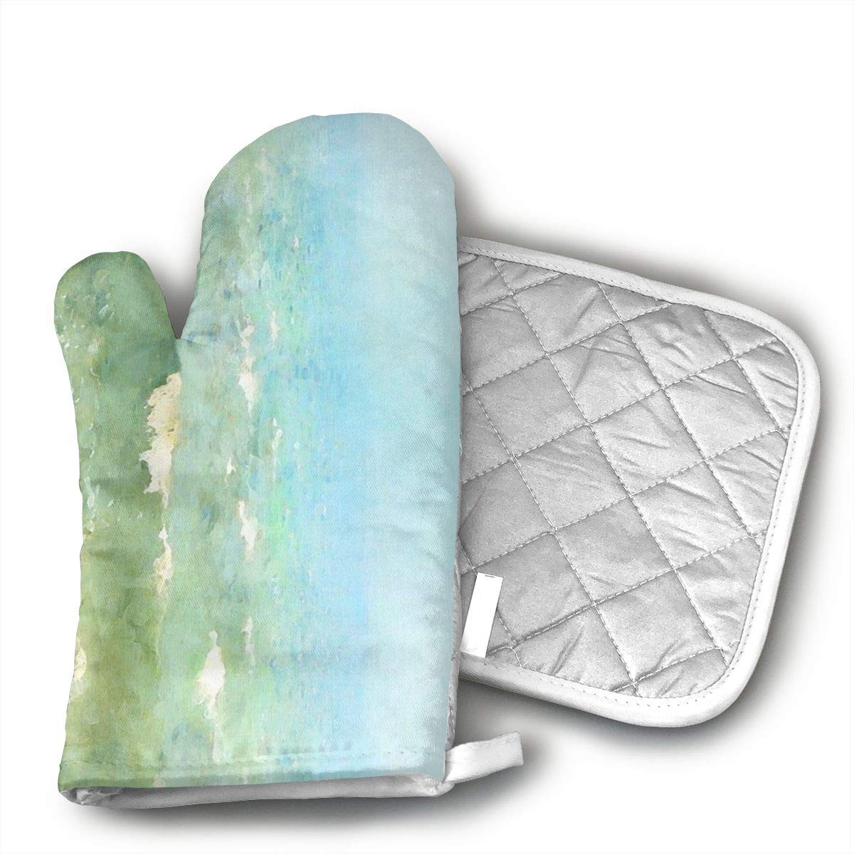 QEDGC Serene Coastal Border Oven Hot Mitts Professional Heat Resistant Pot Holder & Baking Gloves