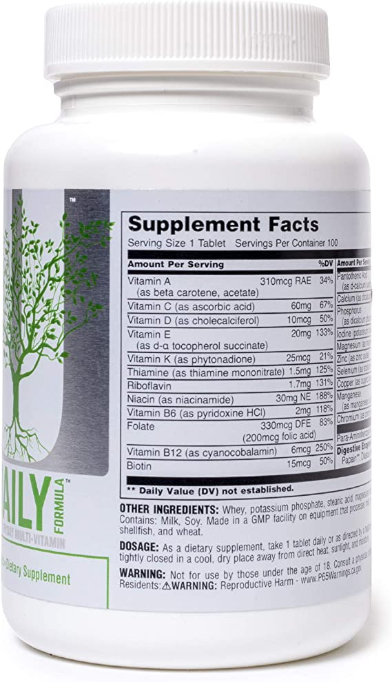 Universal Nutrition Daily Formula Standard - 100 Tabletas